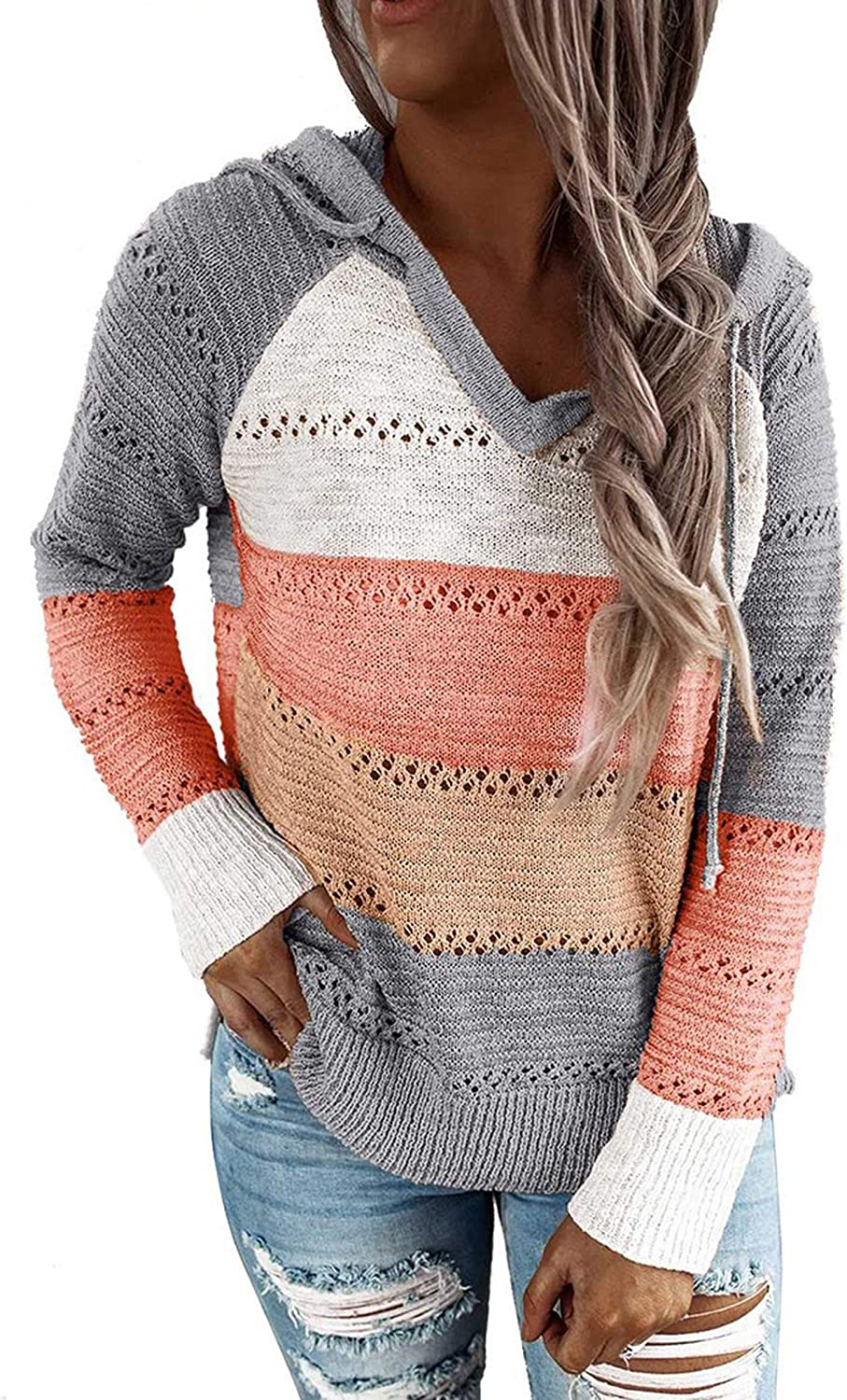 Hibluco Womens Color Block Pullover Sweater Long Sleeve Knit Drawstring Hoodie