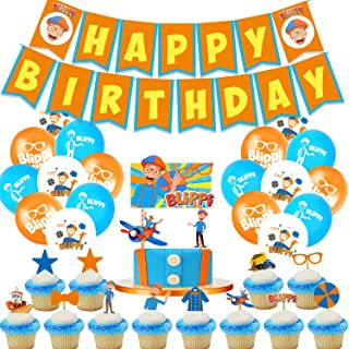 Dlazm Blippi Birthday Party Supplies,Blippi Decorations includeCake Topper, Cupcake Toppers, Banner, Balloons