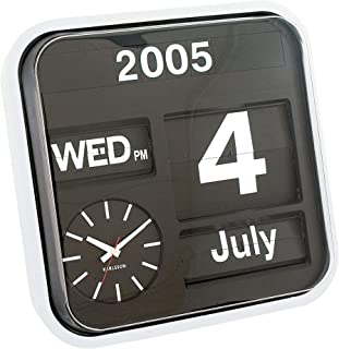 Present Time Karlsson Calendar Clock Big Flip, White