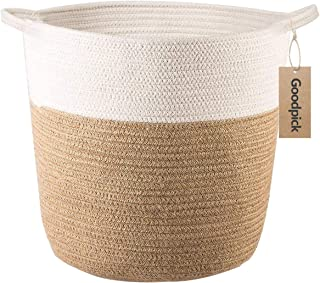 Goodpick Cotton Rope Storage Basket- Jute Basket Woven Planter Basket Rope Laundry Basket with Handles for Toys, Blanket and Pot Plant Cover, 16.0