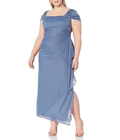 Alex Evenings Plus Size Cold-shoulder Dress Side Ruched Skirt
