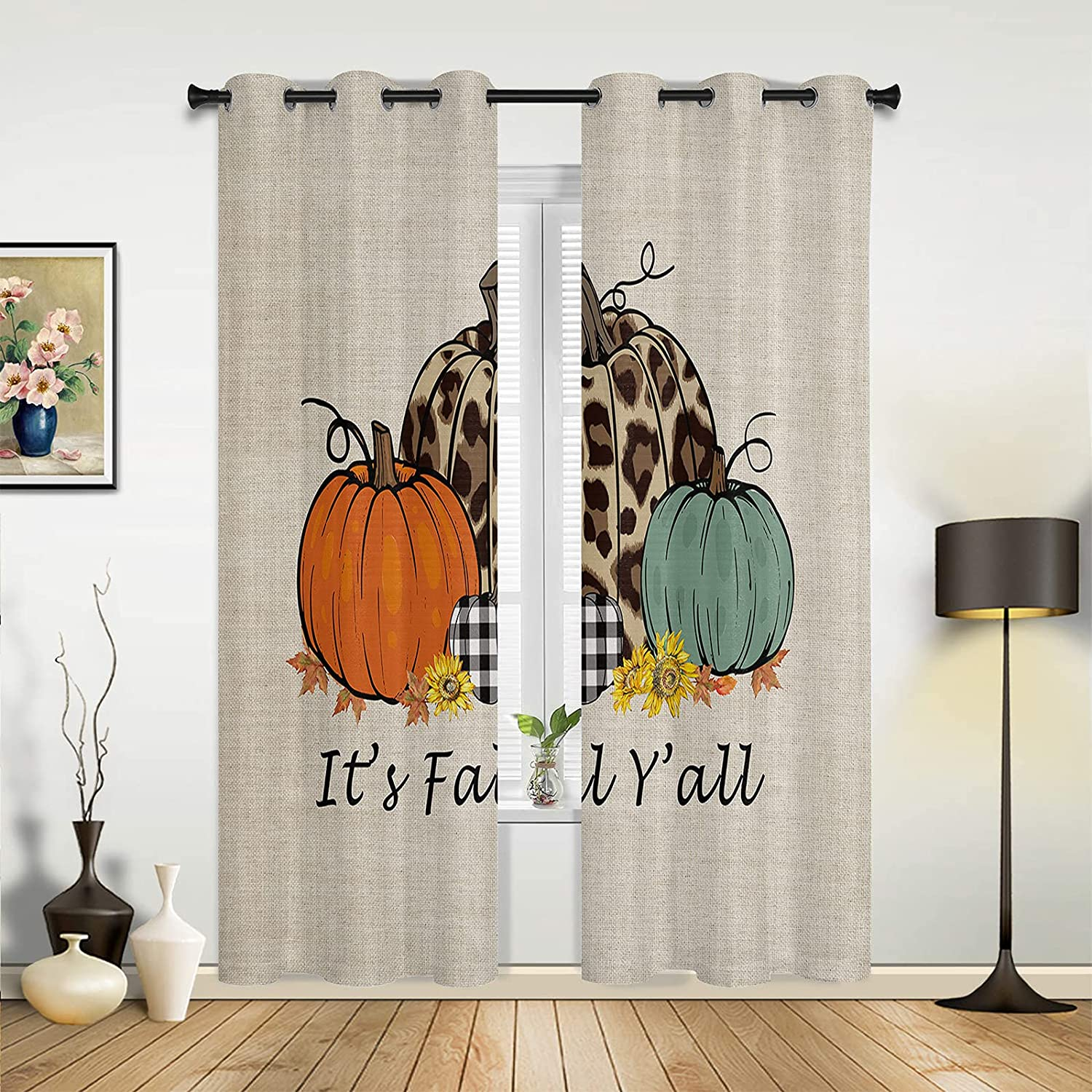 2 Panels Max 85% OFF Kitchen Curtains Window Treatment Thanksg Inch 52 54 Indianapolis Mall x