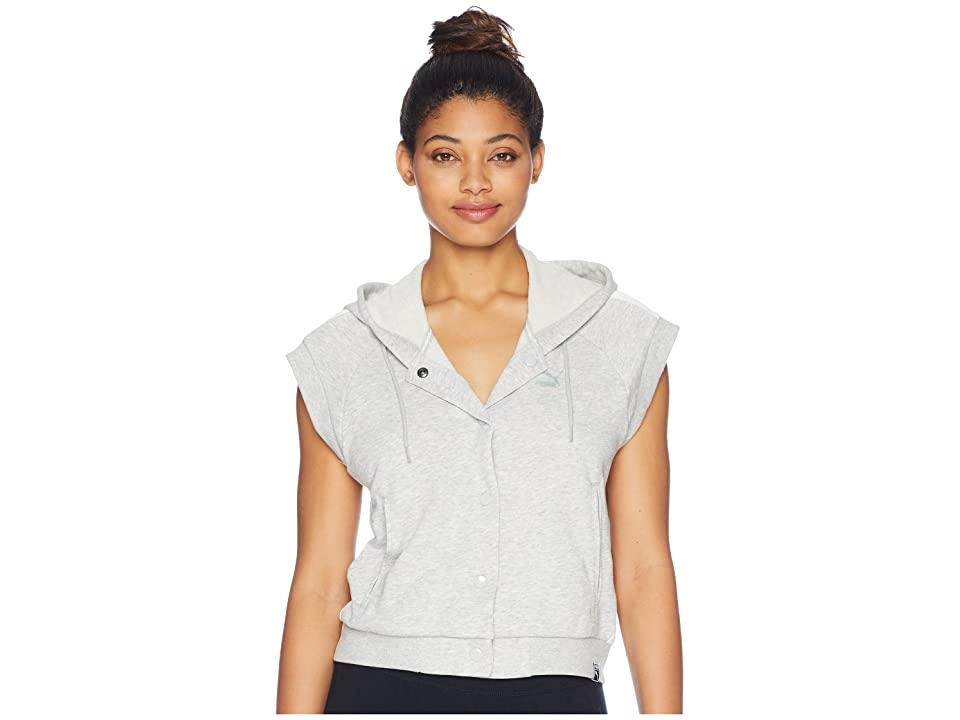 PUMA Classics SL Logo T7 Hoodie (Light Gray Heather) Women