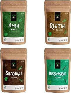 GreenTree Herbal Reetha Powder, Amla Powder, Shikakai Powder and Bhringraj Powder - 100 gms each