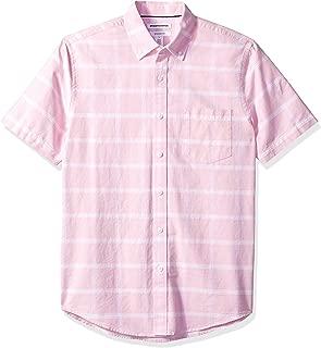 Amazon Essentials Men's Slim-Fit Short-Sleeve Windowpane Pocket Shirt