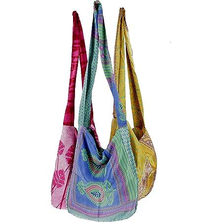 GURU SHOP Upcyceling Beutel 3er Set, Sadhu Bag, Hippie Tasche, Schulterbeutel - Mix, Herren/Damen, Mehrfarbig, Synthetisch, Size:One Size, 25x35 cm, Alternative Umhängetasche, Handtasche aus Stoff