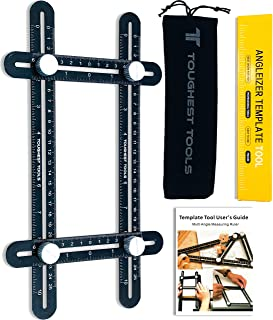 Toughest Tools Universal Angler Ruler | Multi Angle Measuring Tool | Angle Finder | Angle Ruler | Universal Template Tool | Universal Angler Ruler Metal | Angleizer | Black