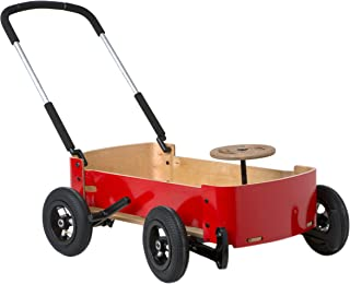 Wishbone Wagon 3in1, My First Wagon in Classic Red for Outdoors, Soap Box Racer and Foot to Floor Car, Push and Pull, Ages 12 months to 10 years
