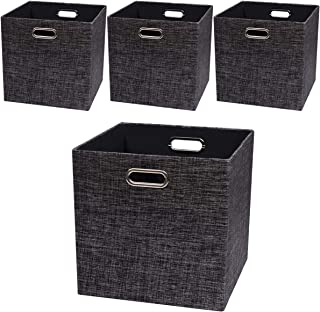 Posprica Storage Cubes,13�13 Storage Bins,Foldable Fabric Drawers Baskets Containers for Shelf Cabinet Bookcase,Thick and Heavy Duty (4pcs, Black)