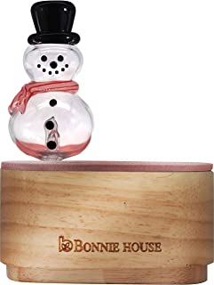 Essential Oil Nebulizing Diffuser – Bonnie House Aromatherapy Pure and Organic Essential Oils Nebulizer with Christmas Snowman, Adjustable Function, Wood & Glass, No Plastic, No Water No Heat, from AU