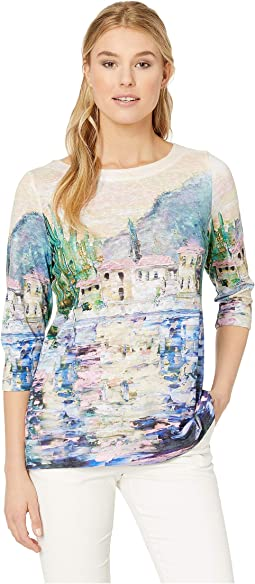 Printed Smooth Jersey Lake Como Boat Neck Top