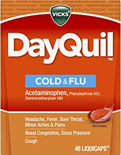 Vicks DayQuil Cold and Flu Multi-Symptom Relief, 48 LiquiCaps (Non-Drowsy) - Sore Throat, Fever, and Congestion Relief