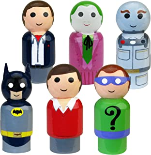 "Bif Bang Pow! Batman Classic TV Series Pin Mate Wooden Figure Set of 6 Collectible, 2"""