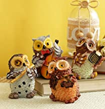 TIED RIBBONS Set of 4 Owls Playing Musical Instruments Showpiece Figurines Garden Statues Decoration Items for Home Outdoor Decorations (Multicolor)