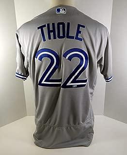 2016 Toronto Blue Jays Josh Thole #22 Game Issued Grey Jersey Postseason Patch - Game Used MLB Jerseys