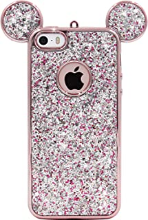 iPhone SE Case, MC Fashion Super Cute Sparkle Bling Bling Glitter 3D Mickey Mouse Ears Soft and Protective TPU Rubber Case for iPhone 5/5S/SE (Rose Gold)