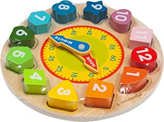 Vomocent Wooden Shape Sorting Clock-Teaching Time Clock Shape Sorting Number Blocks, Early Learning Wooden Montessori Educ...