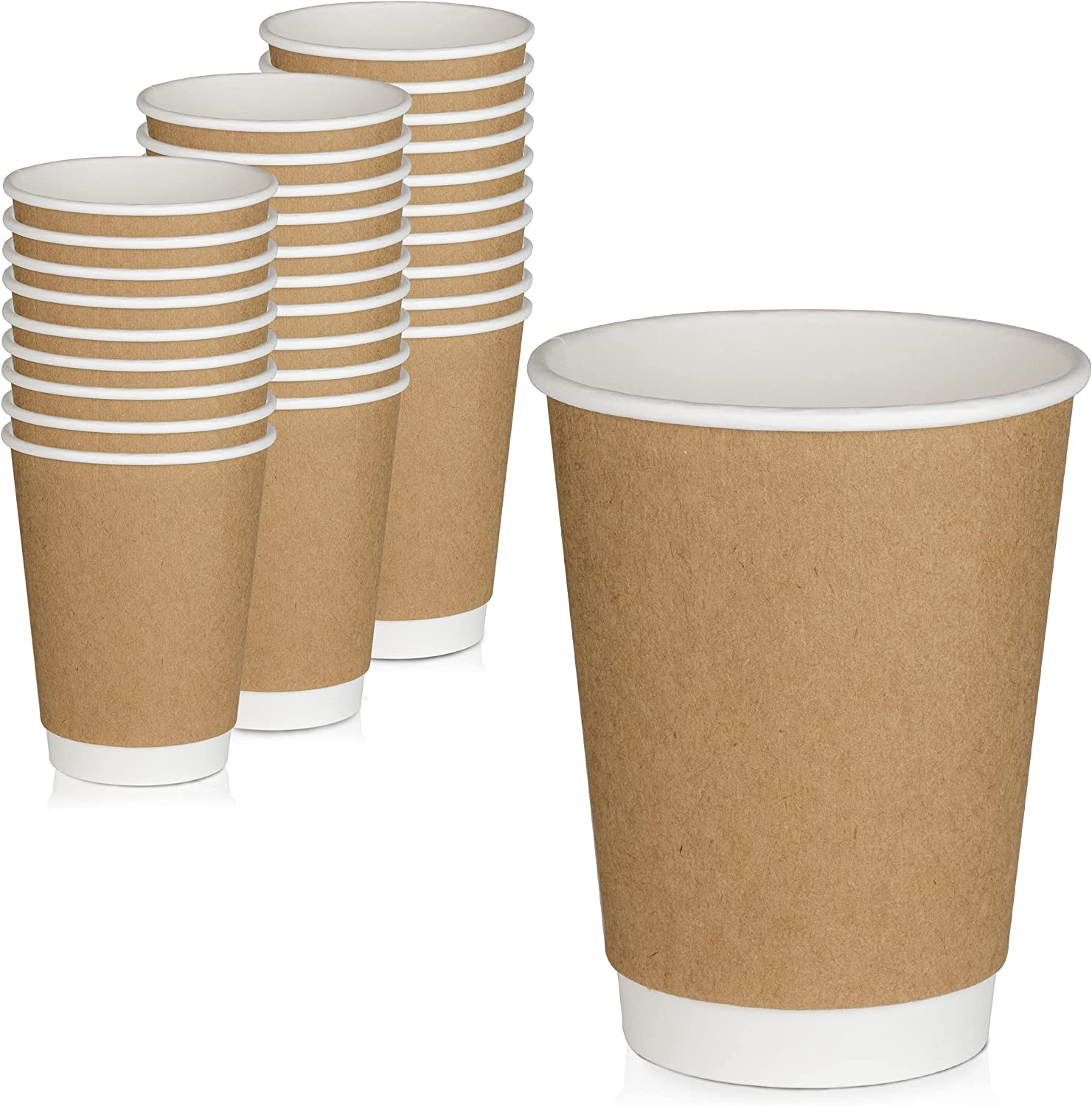 [50 Pack] Disposable Coffee Cups - 12 oz Kraft Brown Double Wall Insulated To Go Coffee Cups - Kraft Paper Cups for Chocolate, Espresso, and Cocoa Drinks - Sturdy, Food Safe, and Eco-Friendly Hot Cups