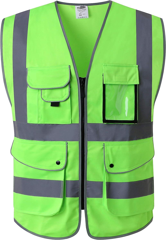 JKSafety 9 Pockets Class 2 High Visibility Safety Front Zipper Inexpensive V Under blast sales