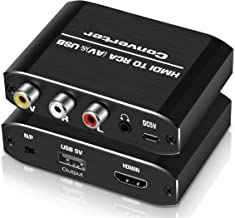 HDMI to RCA Converter,avedio links Aluminum 1080P HDMI to AV 3RCA CVBS Composite Adapter with 3.5mm Aux Audio,Supports PA...