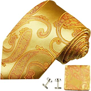 Paul Malone Necktie Set, 100% Silk, Gold Paisley