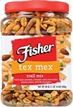 FISHER Snack, Tex Mex Trail Mix, Hot & Spicy Peanuts, Almonds, Salsa Corn Sticks, Sesame Sticks, Chili Bits & Pepitas, 30 oz