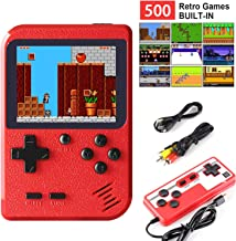 leonnn Handheld Game Console Retro Mini Game Player with 500 Classical FC Games 3.0 Inch Screen Support for Connecting TV ...