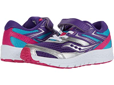 Saucony Kids S-Cohesion 13 A/C (Little Kid/Big Kid) (Purple/Turquoise/Pink) Girls Shoes