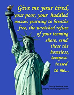 Give me your tired, your poor... Poster-Style Magnetic Bumper Sticker features Statue of Liberty Pro-Immigration