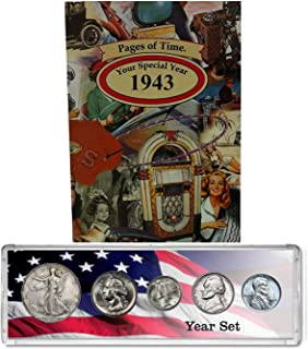 1943 Year Coin Set and Greeting Card : 75th Birthday or Anniversary