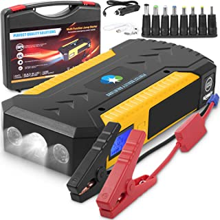Battery Jumper Charger Pack with Cables: Jump Start any Car or Automotive Vehicles.Portable Starter 12V 18000 mAh Power Box 800 A Peak for Auto and Motorcycle Jumpstart.Batteries Emergency Booster Kit