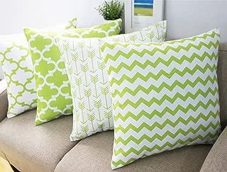 Howarmer Cotton Canvas Decorative Throw Pillow Cover Set of 4 Accent Pattern - Quatrefoil, Arrow, Chevron Cover Set 18X18-Inch