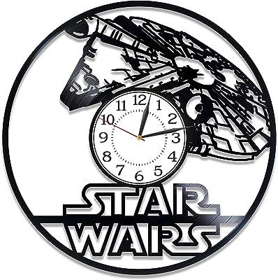 Kovides Star Wars Handmade Clock for Fan Movie Original Home Decor Star Wars Vinyl Record Wall Clock Star Wars Wall Clock 12 Inch Star Wars Birthday Gift Idea for Boy