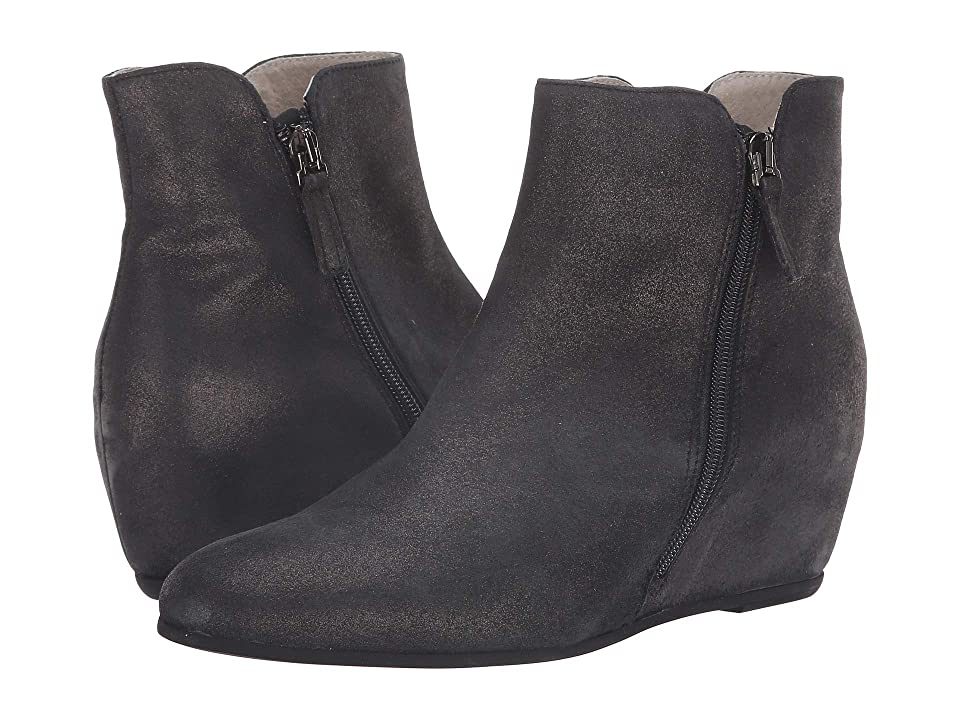 French Sole Magic Wedge Bootie (Black Metallic Suede) Women