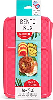 """Fit and Fresh 826FF Fit & Fresh Bento Box with Removeable Ice Packs, Divided Meal Carrier, 3 Food Compartments, BPA-free, 9.5"""" x 6"""" x 2.25"""", Pink"""