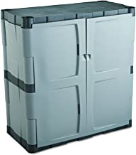 """Rubbermaid Storage Small Cabinet with Doors, Lockable Storage Cabinet, 18""""D x 36""""W x 37""""H, Grey/Black"""