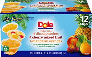 Dole Fruit Bowls Peaches, Mandarin Oranges and Cherry Mixed Fruit Variety Pack, 4 Ounce, 12 Count