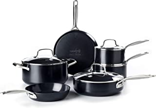 GreenPan Profile Hard Anodized Healthy Ceramic Nonstick, Cookware Pots and Pans Set, 10-Piece, Black