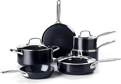 GreenPan Profile Hard Anodized Healthy Ceramic Nonstick, Cookware Pots and Pans Set, 10-Piece, Black