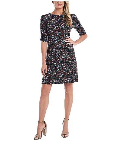 CeCe Ruched Sleeve Wild Flower Symphony Dress (Caviar) Women