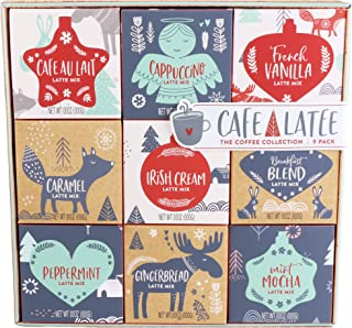 Thoughtfully Gifts, Coffee Variety Gift Set, Includes 9 Unique Coffee Flavors Like Café Au Lait, Cappuccino, French Vanilla, Caramel and More, Set of 9
