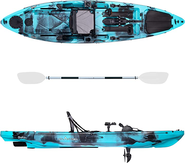 Kayak-canoa  atlantis ad elica draki azzurro cm 366-2 gavoni - seggiolino - pagaia - timone B08W8KSG34