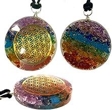 Pendant Flower of Life 7 Chakra Pendant Crystal Orgone Gemstone Orgonite ReikiPendant Metatron Cube Sacred Geometry Orgone...