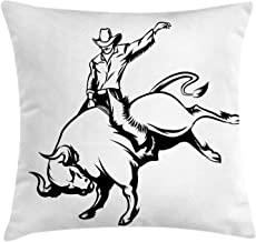 NBTJZT Rodeo Pillow Cover, Cowboy Riding a Wild Bull Minimalist Folklore Old West Extreme Sports, Pillow Cover Standard Throw Pillowcase 18X18 Inch, Charcoal Grey and White