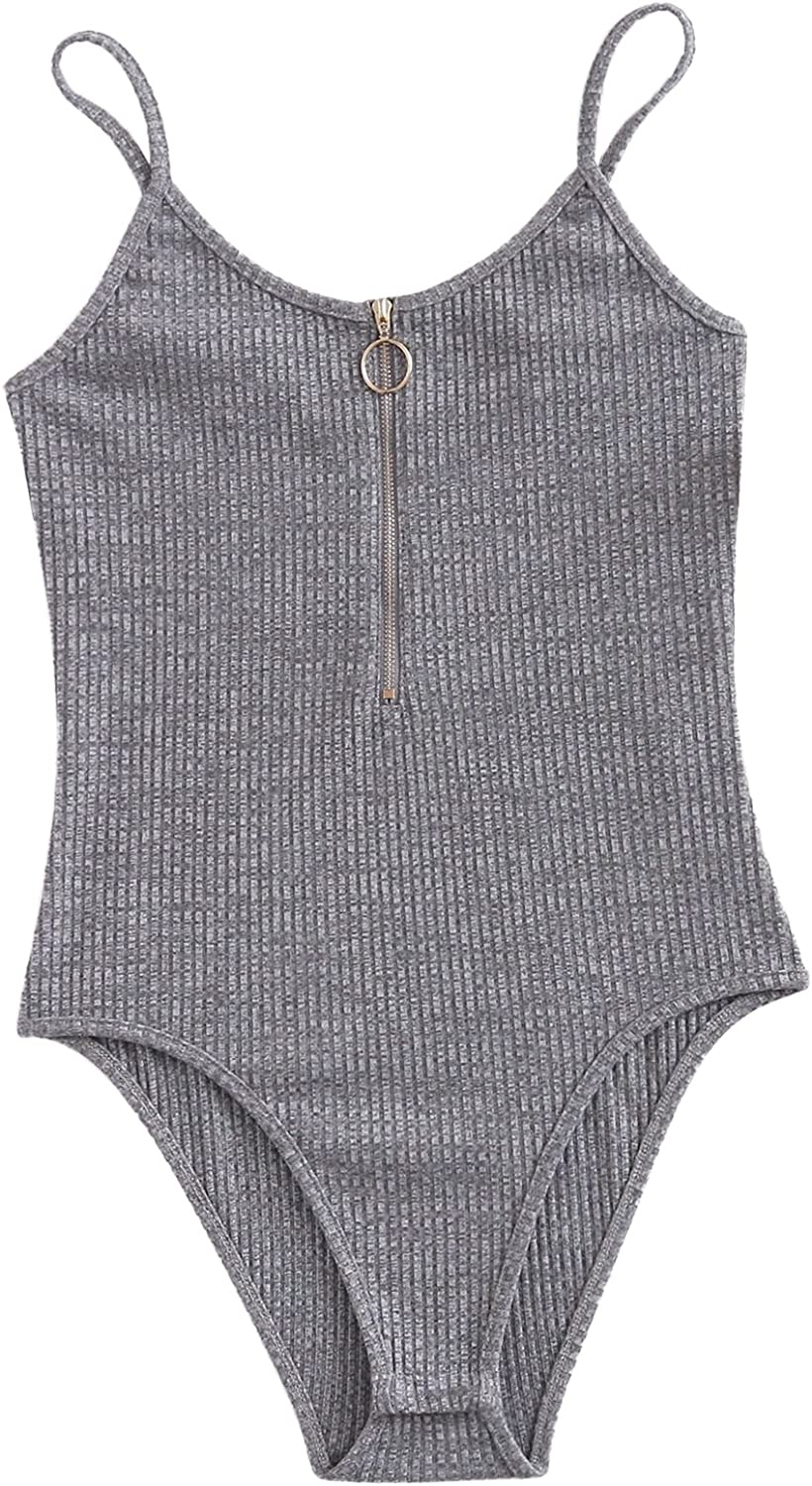 Floerns Women's Zipper Front Solid Ribbed Cami Summer Bodysuit