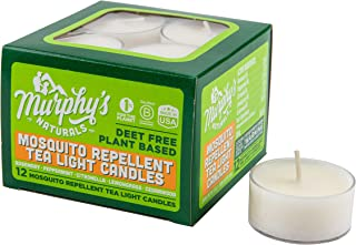Murphy's Naturals Mosquito Repellent Tea Light Candles   Made with Essential Oils and a Soy/Beeswax Blend   4 Hour Burn Time Per Candle   12 Candles Per Box