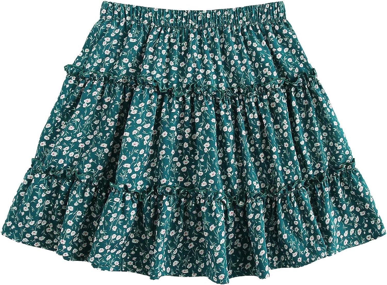 SheIn Women's Boho Floral Print Layered Frill Trim Ditsy Mini Short Flared Skirt