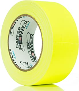 REAL Professional Grade Gaffer Tape By Gaffer Power, Made in the USA, YELLOW FLUORESCENT 2 Inches by 30 Yards, UV Blacklight Reactive Fluorescent Heavy Duty Gaffers Tape, Non-Reflective, Multipurpose.