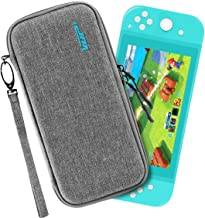 VUP Ultra Slim Carrying Case Fit for Nintendo Switch Lite, Portable Hard Shell Travel Case with Storage for Switch Lite & Accessories, 10 Game Cartridges - Grey