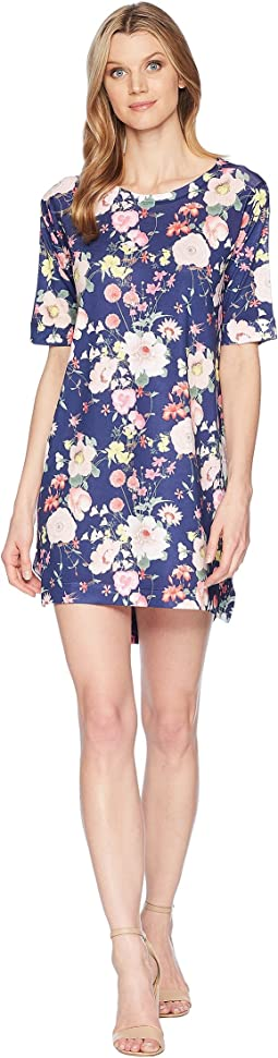 Elbow Sleeve Navy Poppy Floral Print Dress